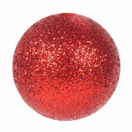 Kerstballen rood glitter