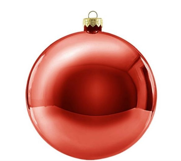 Kerstbal rond 25 cm Rood