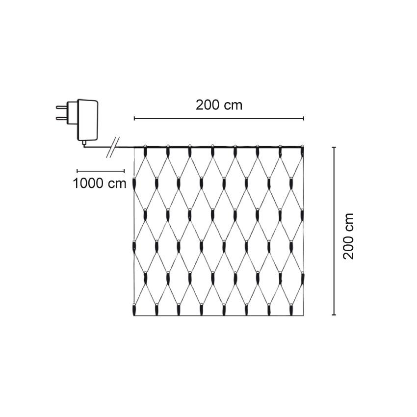 Lichtnet 2x2 meter, super warm witte leds